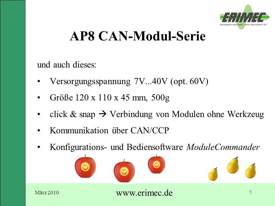 März 2010 www.erimec.de 5 AP8 CAN-Modul-Serie und auch dieses: Versorgungsspannung 7V...40V (opt. 60V) Größe 120 x 110 x 45 mm, 500g click & snap  Ve