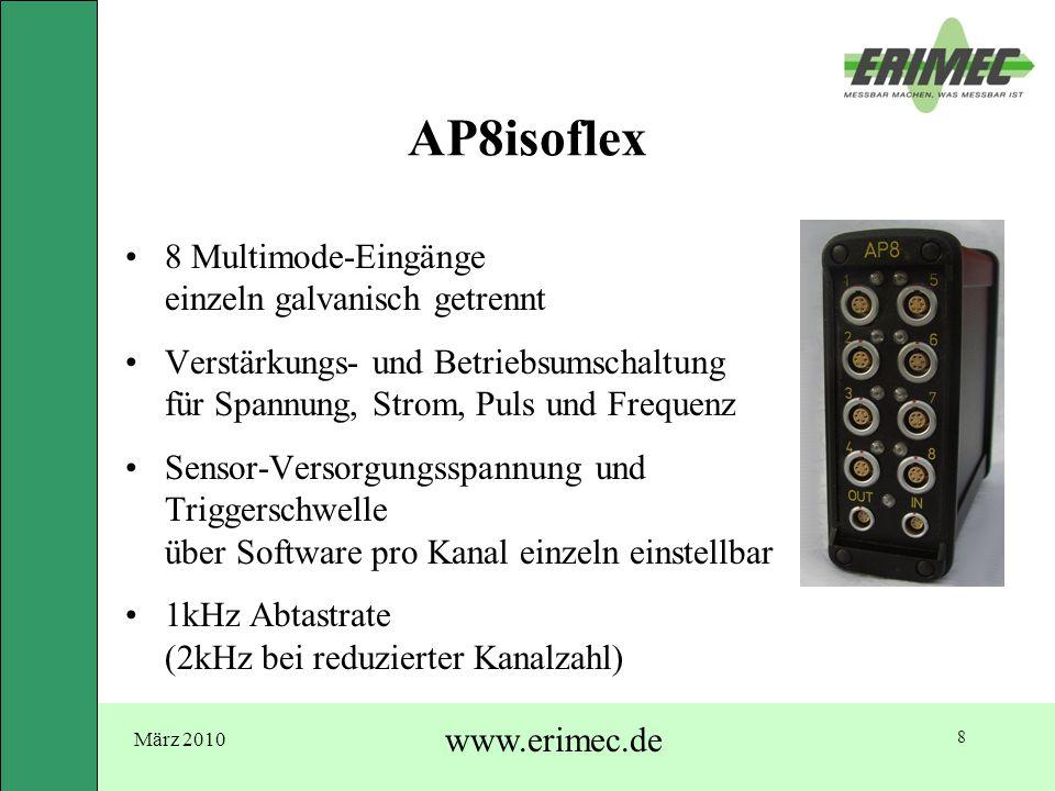 März 2010 www.erimec.de 8 AP8isoflex 8 Multimode-Eingänge einzeln galvanisch getrennt Verstärkungs- und Betriebsumschaltung für Spannung, Strom, Puls