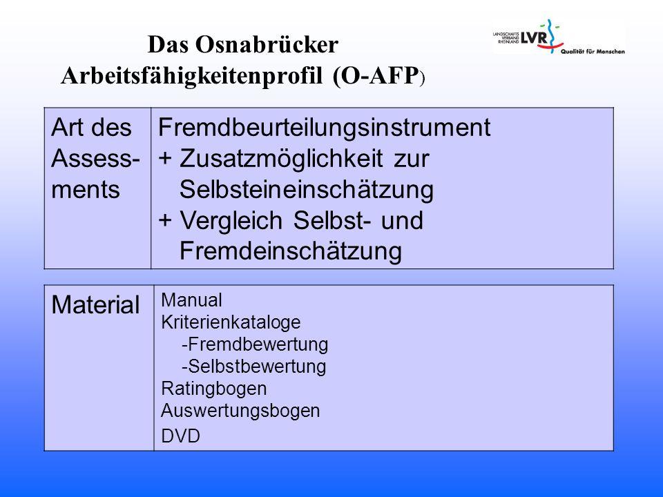 Das Osnabrücker Arbeitsfähigkeitenprofil (O-AFP ) Art des Assess- ments Fremdbeurteilungsinstrument + Zusatzmöglichkeit zur Selbsteineinschätzung + Vergleich Selbst- und Fremdeinschätzung Material Manual Kriterienkataloge -Fremdbewertung -Selbstbewertung Ratingbogen Auswertungsbogen DVD