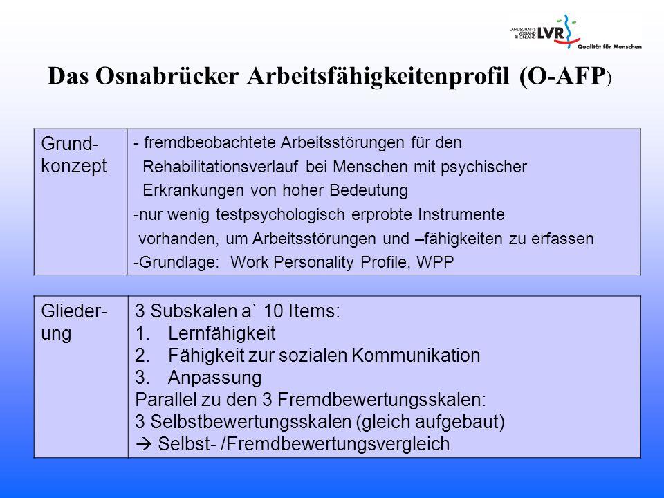 Das Osnabrücker Arbeitsfähigkeitenprofil (O-AFP ) Grund- konzept - fremdbeobachtete Arbeitsstörungen für den Rehabilitationsverlauf bei Menschen mit p
