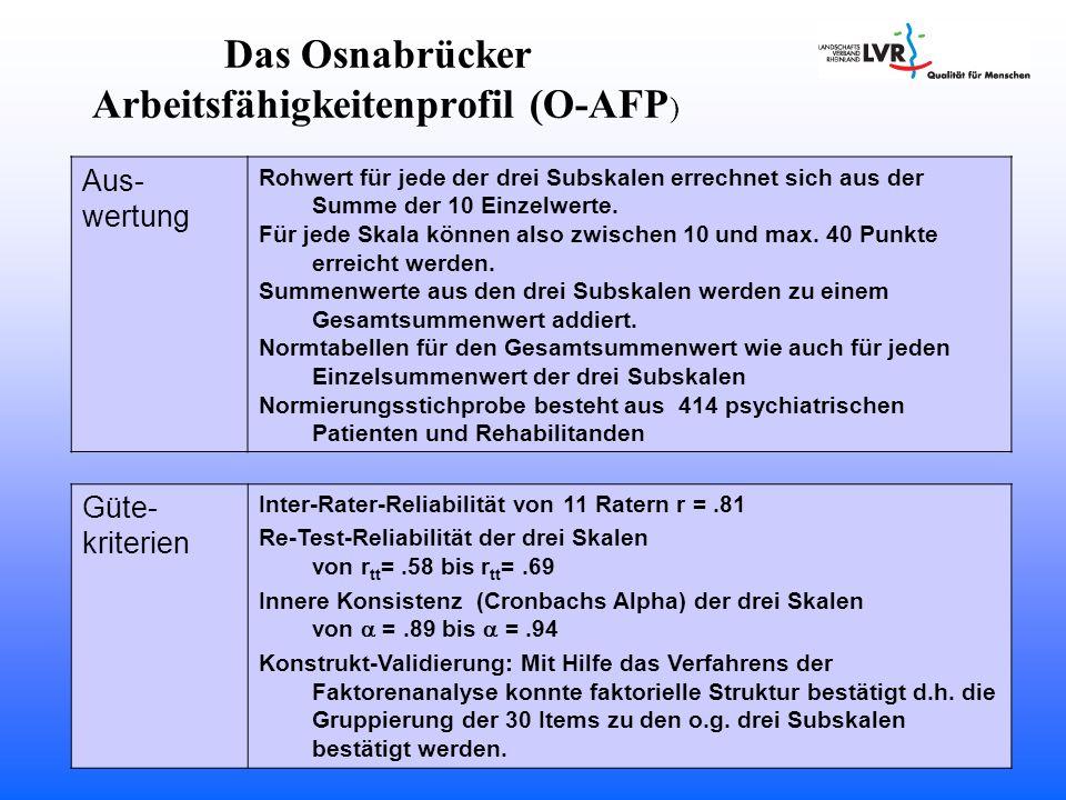 Das Osnabrücker Arbeitsfähigkeitenprofil (O-AFP ) Güte- kriterien Inter-Rater-Reliabilität[von 11 Ratern r =.81[ Re-Test-Reliabilität der drei Skalen von r tt =.58 bis r tt =.69 Innere Konsistenz (Cronbachs Alpha) der drei Skalen von  =.89 bis  =.94 Konstrukt-Validierung: Mit Hilfe das Verfahrens der Faktorenanalyse konnte faktorielle Struktur bestätigt d.h.