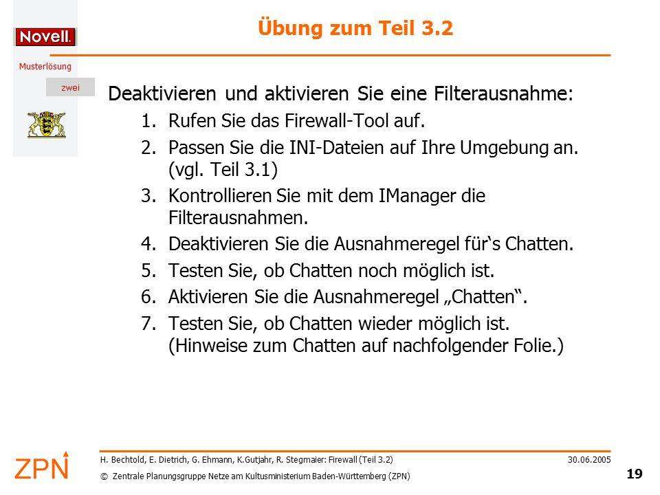 © Zentrale Planungsgruppe Netze am Kultusministerium Baden-Württemberg (ZPN) Musterlösung 30.06.2005 19 H.