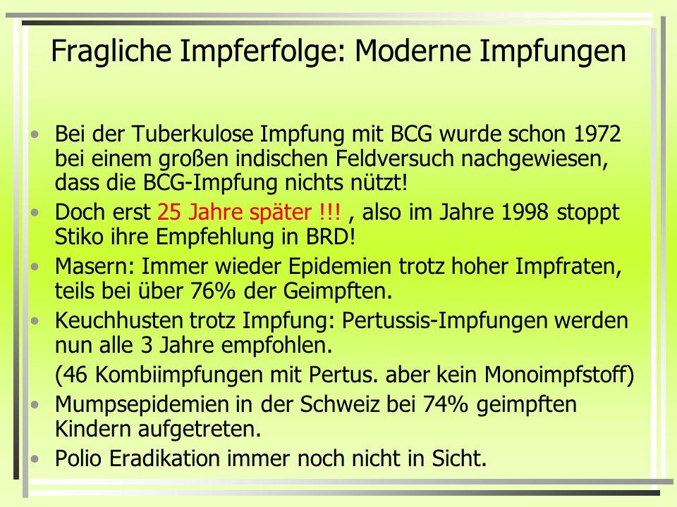 Die vermeintlichen Erfolge der Impfungen: Todesfälle durch Pocken Reichsimpfgesetzes 1875 Es ist sehr leicht feststellbar, dass die Pockensterbefälle