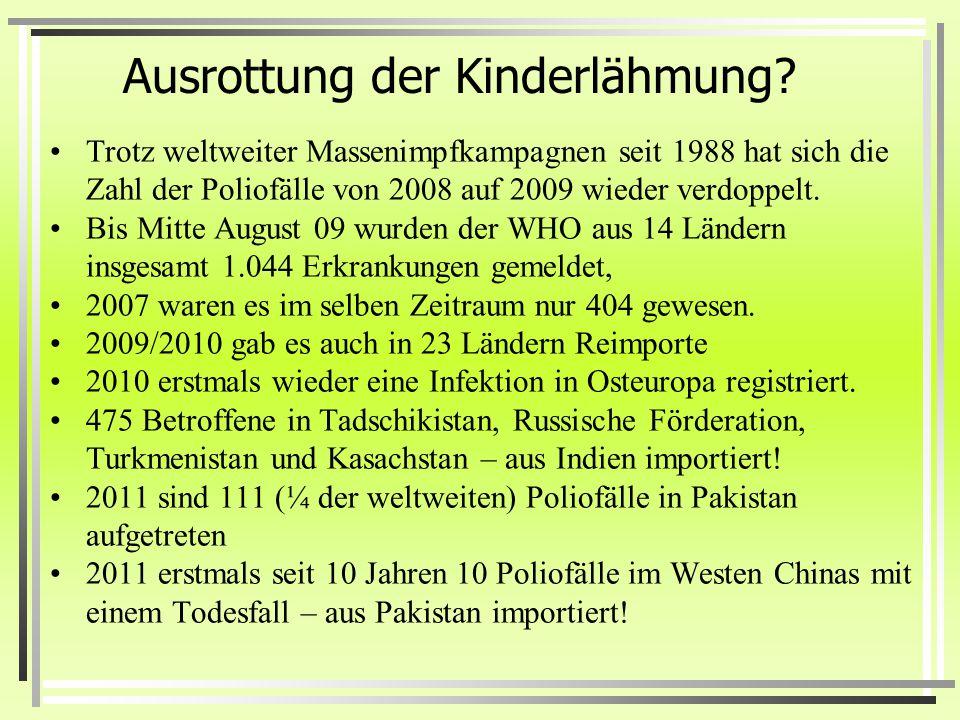 Die vermeintlichen Erfolge der Impfungen Die Definition der Weltgesundheitsorganisation zur Polioerkrankung wurde im Jahr 1957 geändert. Dr. Viera Sch
