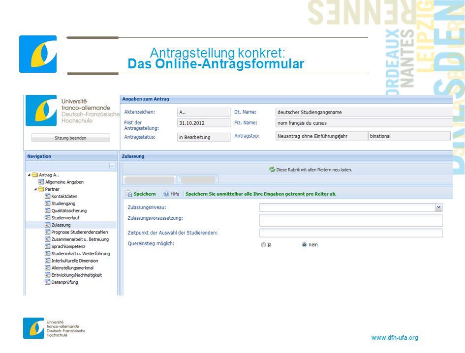 www.dfh-ufa.org Antragstellung konkret: Das Online-Antragsformular