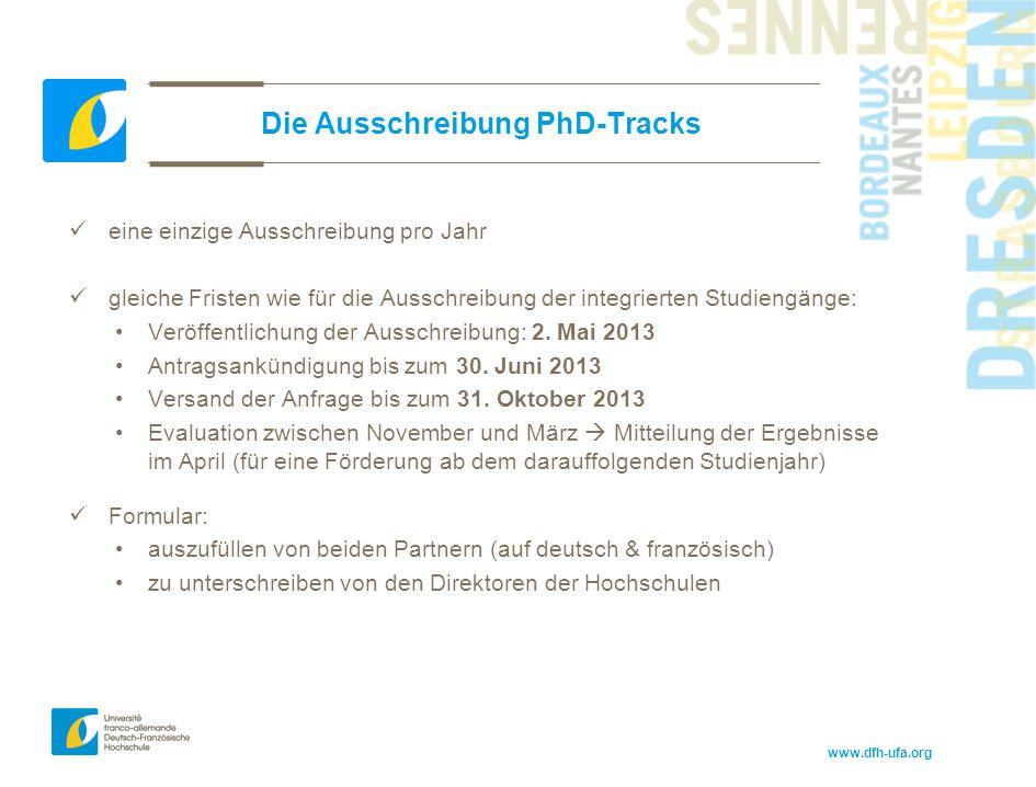 www.dfh-ufa.org Die Ausschreibung PhD-Tracks eine einzige Ausschreibung pro Jahr gleiche Fristen wie für die Ausschreibung der integrierten Studiengän