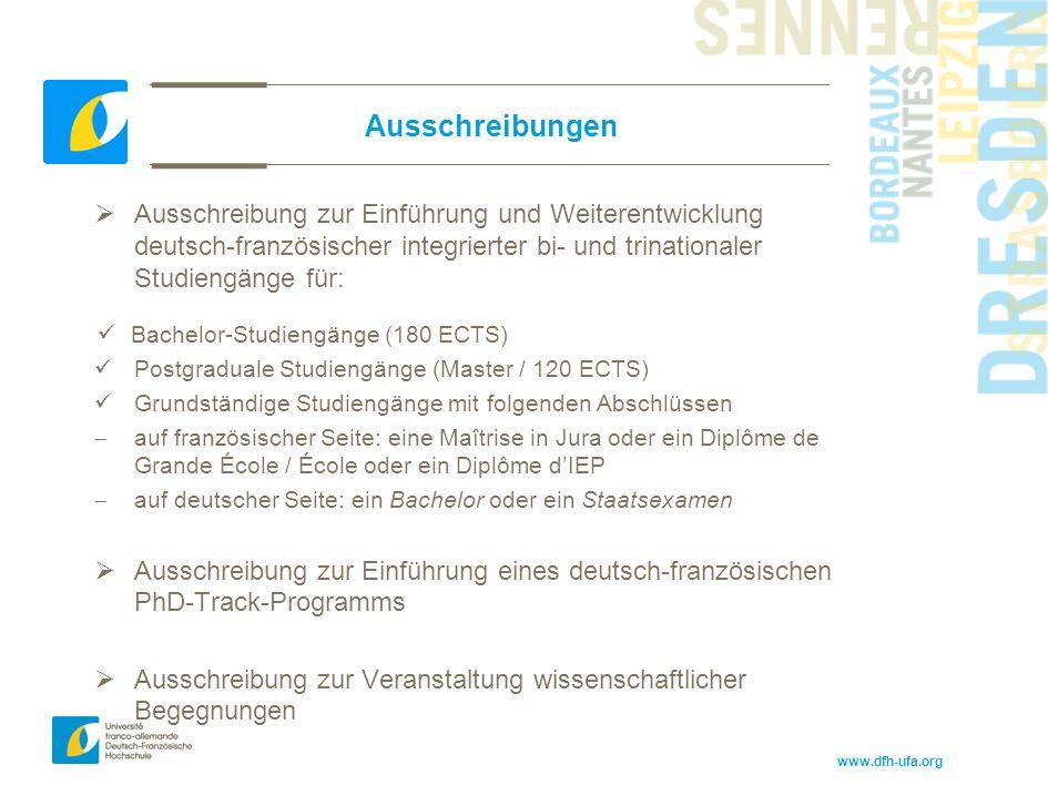 www.dfh-ufa.org Ausschreibungen  Ausschreibung zur Einführung und Weiterentwicklung deutsch-französischer integrierter bi- und trinationaler Studieng