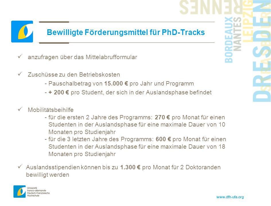 www.dfh-ufa.org Bewilligte Förderungsmittel für PhD-Tracks anzufragen über das Mittelabrufformular Zuschüsse zu den Betriebskosten - Pauschalbetrag vo