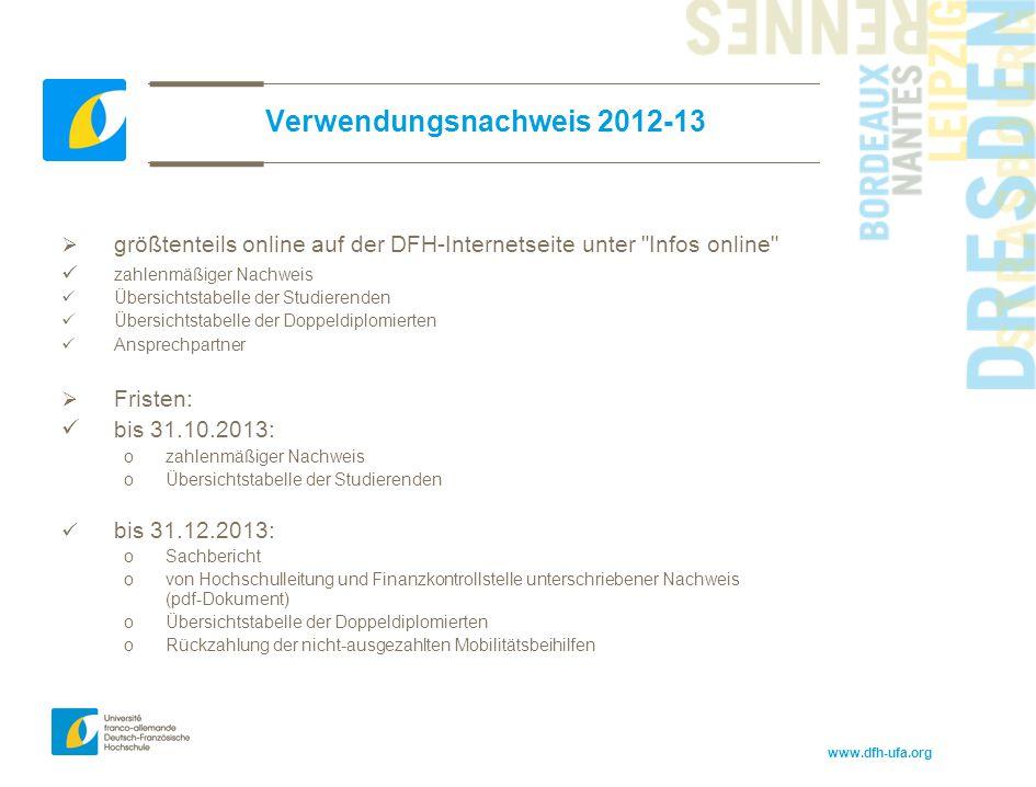 www.dfh-ufa.org Verwendungsnachweis 2012-13  größtenteils online auf der DFH-Internetseite unter