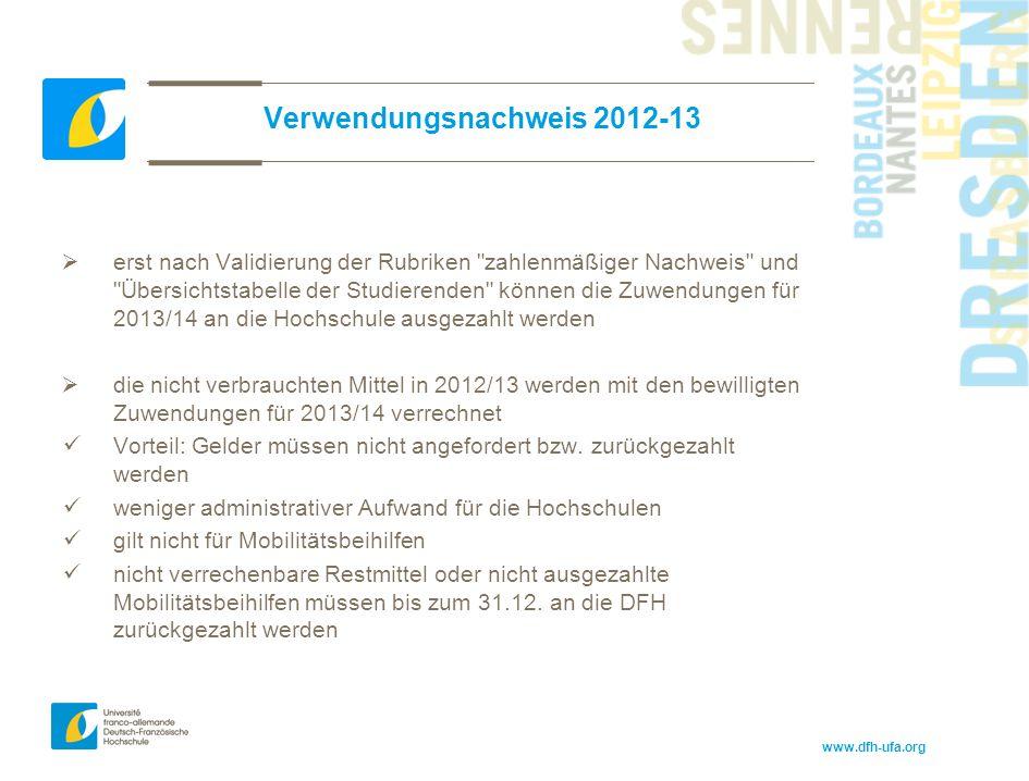 www.dfh-ufa.org Verwendungsnachweis 2012-13  erst nach Validierung der Rubriken