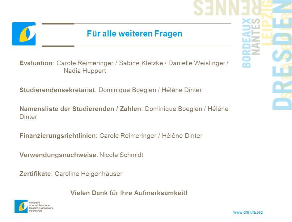 www.dfh-ufa.org Für alle weiteren Fragen Evaluation: Carole Reimeringer / Sabine Kletzke / Danielle Weislinger / Nadia Huppert Studierendensekretariat