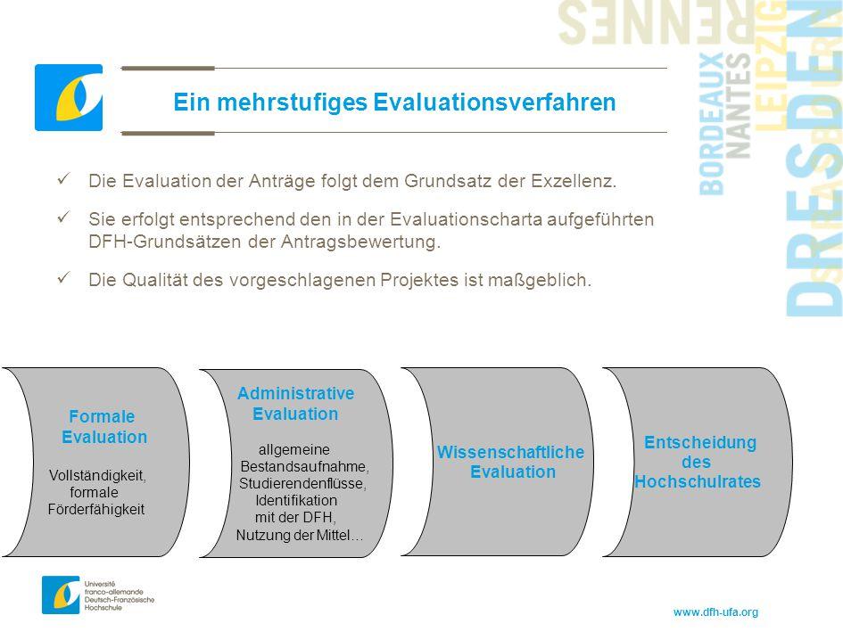 www.dfh-ufa.org Ein mehrstufiges Evaluationsverfahren Die Evaluation der Anträge folgt dem Grundsatz der Exzellenz. Sie erfolgt entsprechend den in de