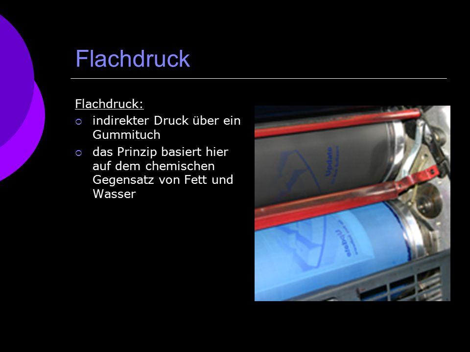 Flachdruck Flachdruck:  indirekter Druck über ein Gummituch  das Prinzip basiert hier auf dem chemischen Gegensatz von Fett und Wasser