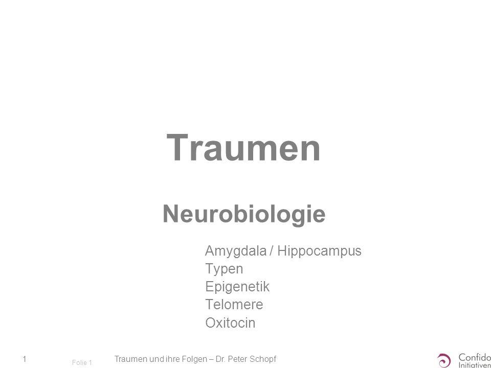 Traumen und ihre Folgen – Dr. Peter Schopf 1 Folie 1 Traumen Neurobiologie Amygdala / Hippocampus Typen Epigenetik Telomere Oxitocin