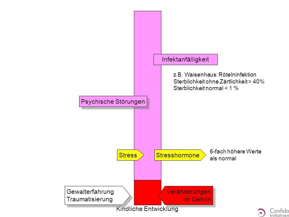 Kindliche Entwicklung Gewalterfahrung Traumatisierung Psychische Störungen Stress Veränderungen im Gehirn Stresshormone 6-fach höhere Werte als normal z.B.