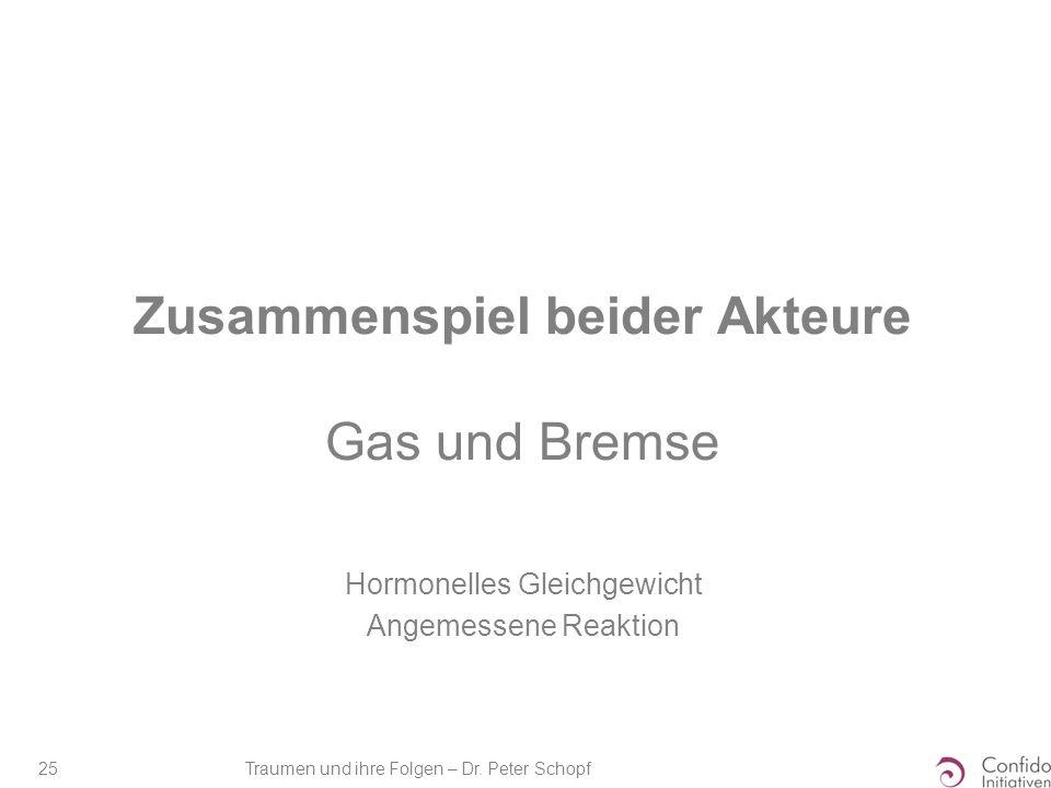 Traumen und ihre Folgen – Dr. Peter Schopf 25 Zusammenspiel beider Akteure Gas und Bremse Hormonelles Gleichgewicht Angemessene Reaktion