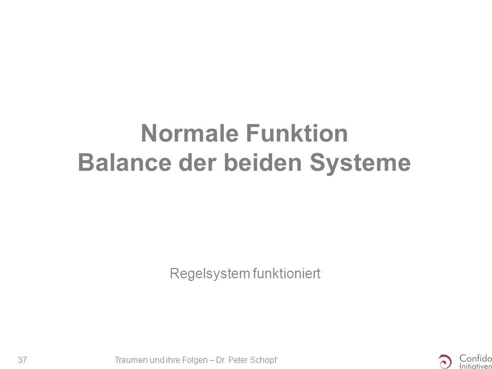 Traumen und ihre Folgen – Dr. Peter Schopf 37 Normale Funktion Balance der beiden Systeme Regelsystem funktioniert
