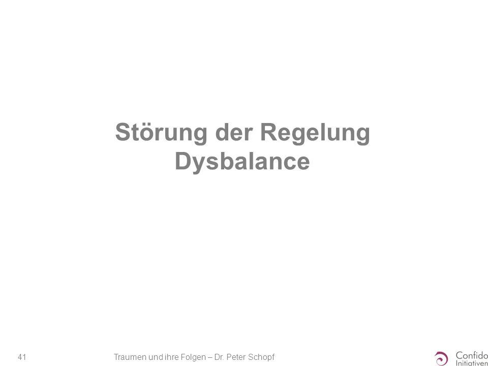 Traumen und ihre Folgen – Dr. Peter Schopf 41 Störung der Regelung Dysbalance