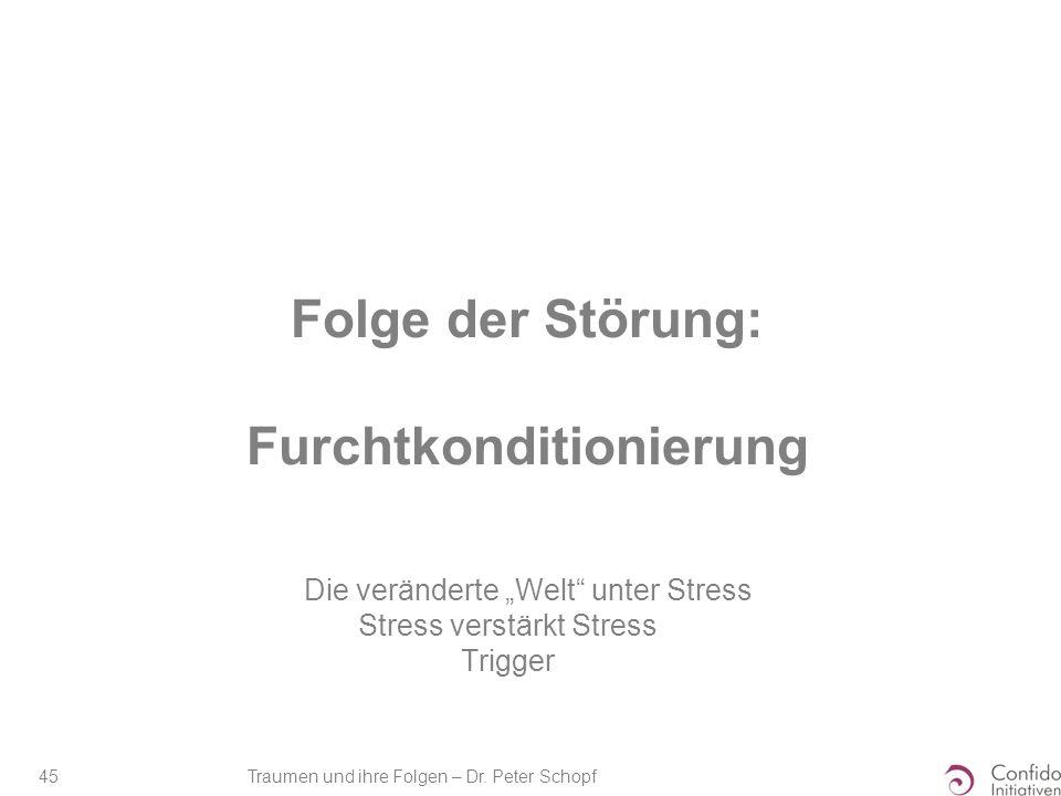 """Traumen und ihre Folgen – Dr. Peter Schopf 45 Folge der Störung: Furchtkonditionierung Die veränderte """"Welt"""" unter Stress Stress verstärkt Stress Trig"""