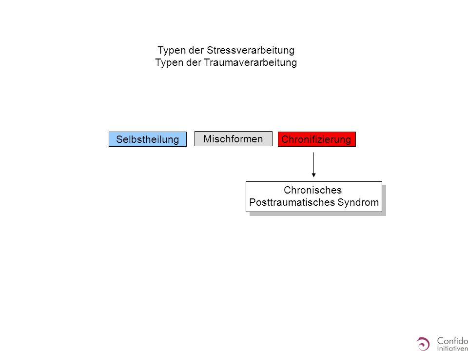 Typen der Stressverarbeitung Typen der Traumaverarbeitung SelbstheilungChronifizierung Mischformen Chronisches Posttraumatisches Syndrom