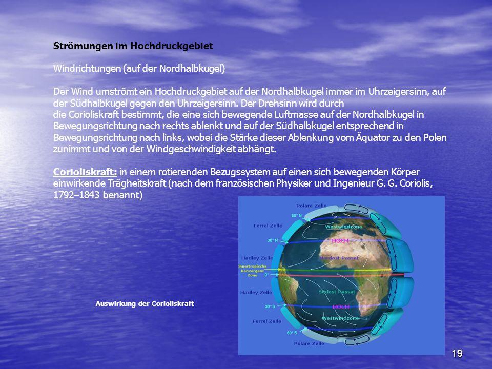 19 Strömungen im Hochdruckgebiet Windrichtungen (auf der Nordhalbkugel) Der Wind umströmt ein Hochdruckgebiet auf der Nordhalbkugel immer im Uhrzeiger