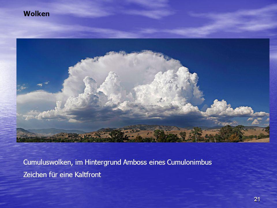 21 Cumuluswolken, im Hintergrund Amboss eines Cumulonimbus Zeichen für eine Kaltfront