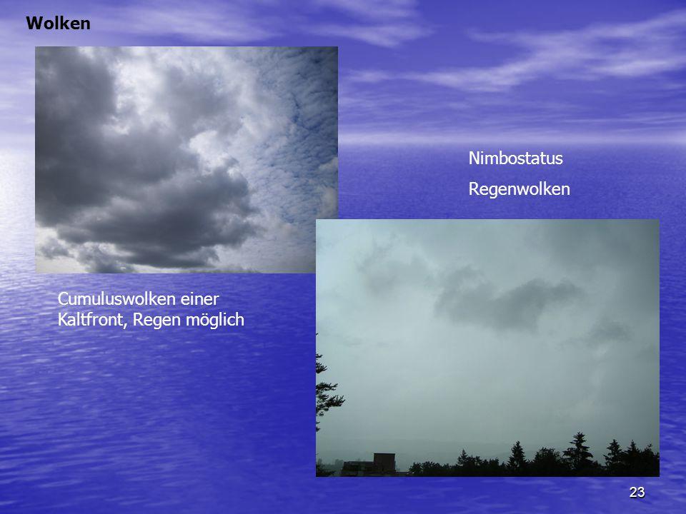 23 Wolken Nimbostatus Regenwolken Cumuluswolken einer Kaltfront, Regen möglich