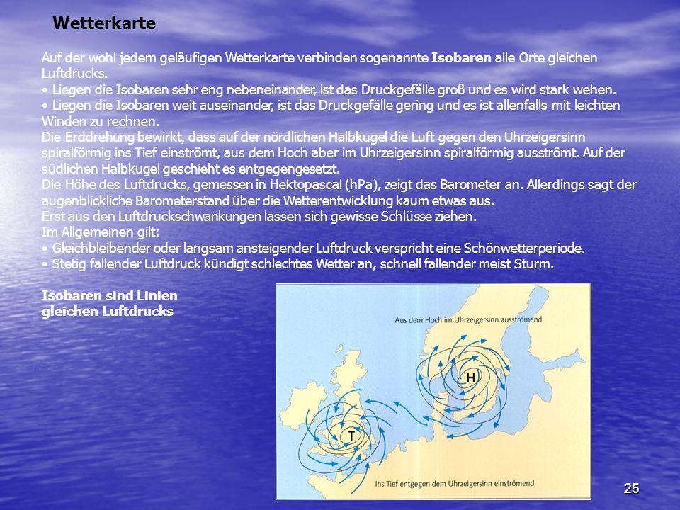 25 Auf der wohl jedem geläufigen Wetterkarte verbinden sogenannte Isobaren alle Orte gleichen Luftdrucks. Liegen die Isobaren sehr eng nebeneinander,
