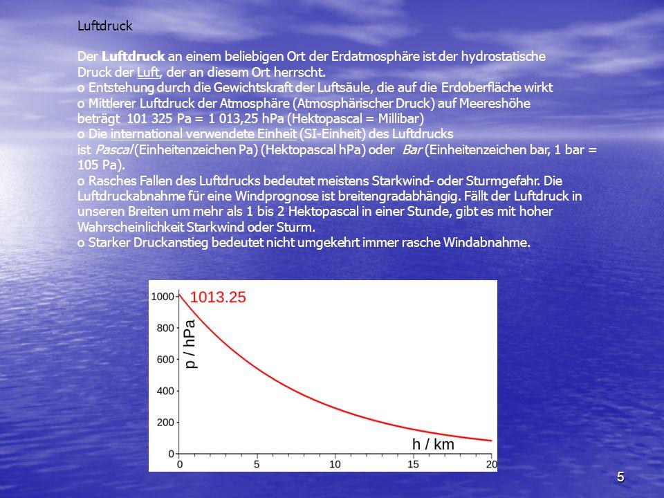 5 Luftdruck Der Luftdruck an einem beliebigen Ort der Erdatmosphäre ist der hydrostatische Druck der Luft, der an diesem Ort herrscht. o Entstehung du