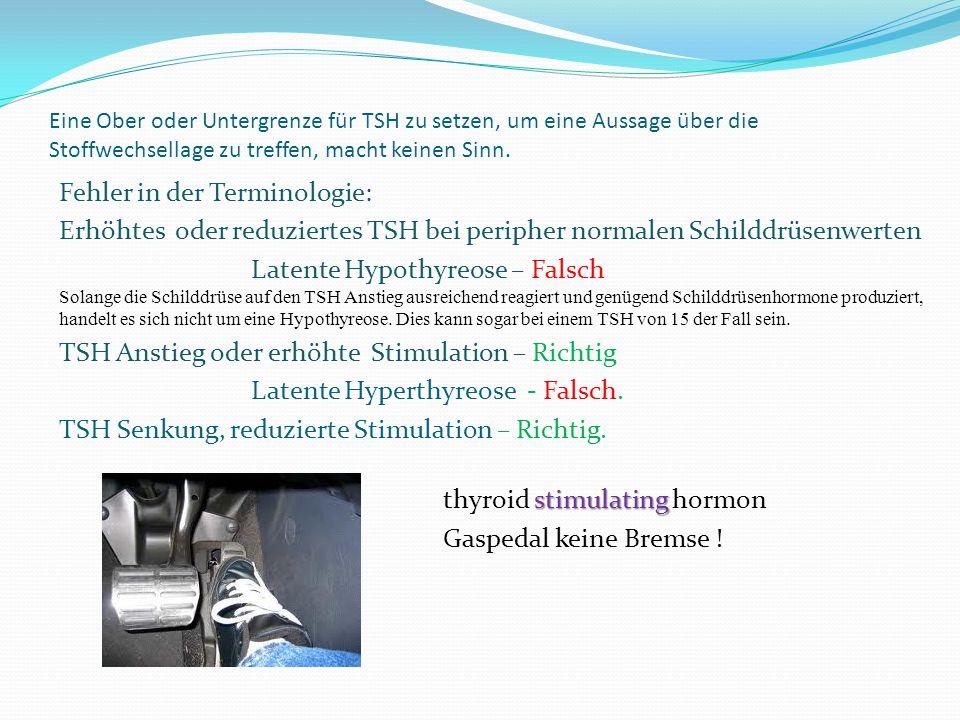 Eine Ober oder Untergrenze für TSH zu setzen, um eine Aussage über die Stoffwechsellage zu treffen, macht keinen Sinn. Fehler in der Terminologie: Erh