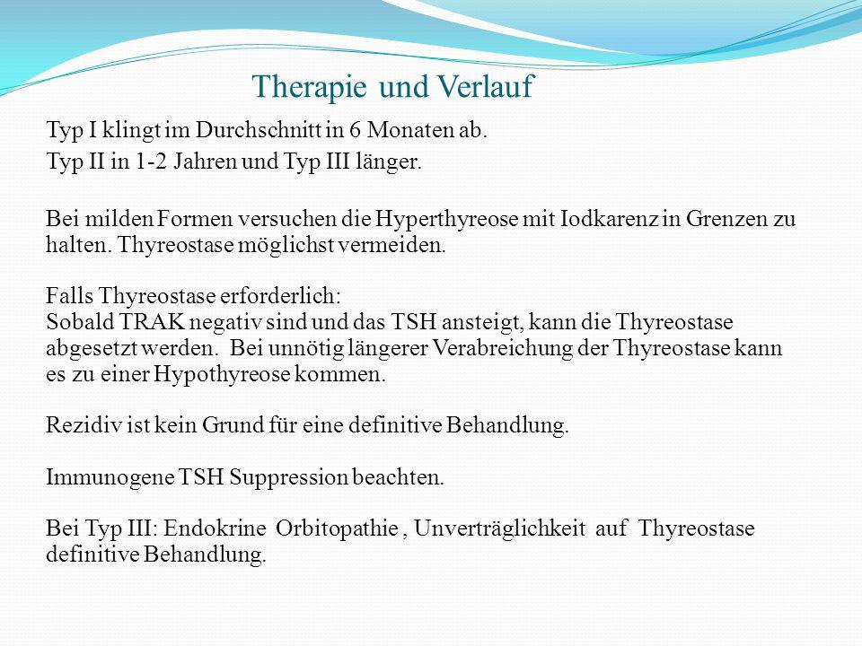 Therapie und Verlauf Typ I klingt im Durchschnitt in 6 Monaten ab. Typ II in 1-2 Jahren und Typ III länger. Bei milden Formen versuchen die Hyperthyre