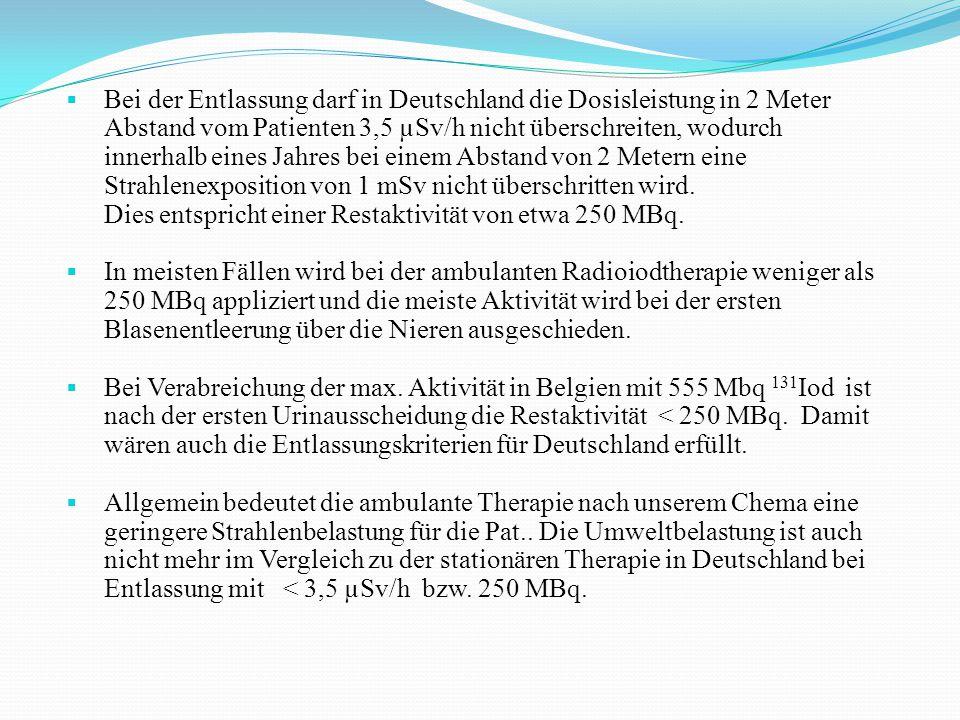  Bei der Entlassung darf in Deutschland die Dosisleistung in 2 Meter Abstand vom Patienten 3,5 µSv/h nicht überschreiten, wodurch innerhalb eines Jah