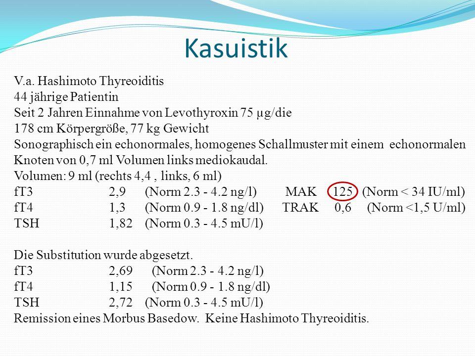 Kasuistik V.a. Hashimoto Thyreoiditis 44 jährige Patientin Seit 2 Jahren Einnahme von Levothyroxin 75 µg/die 178 cm Körpergröße, 77 kg Gewicht Sonogra