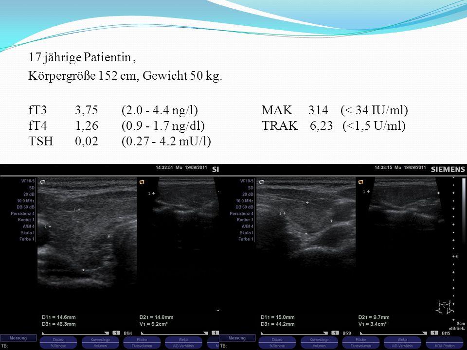 17 jährige Patientin, Körpergröße 152 cm, Gewicht 50 kg. fT33,75 (2.0 - 4.4 ng/l) MAK 314 (< 34 IU/ml) fT41,26(0.9 - 1.7 ng/dl) TRAK 6,23 (<1,5 U/ml)