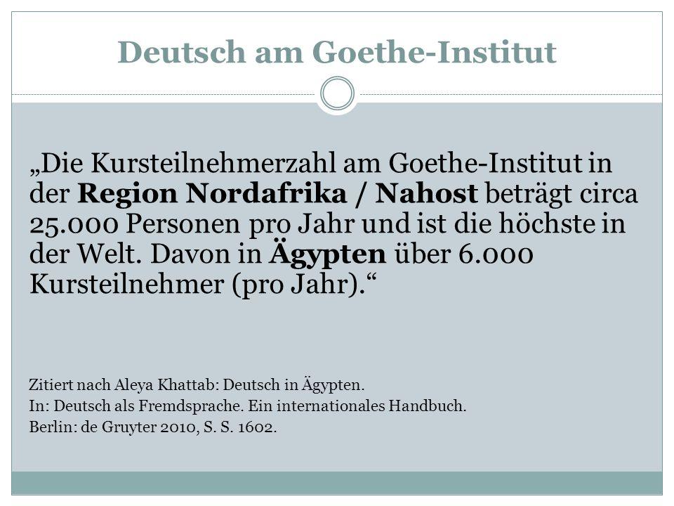 """Deutsch am Goethe-Institut """"Die Kursteilnehmerzahl am Goethe-Institut in der Region Nordafrika / Nahost beträgt circa 25.000 Personen pro Jahr und ist"""