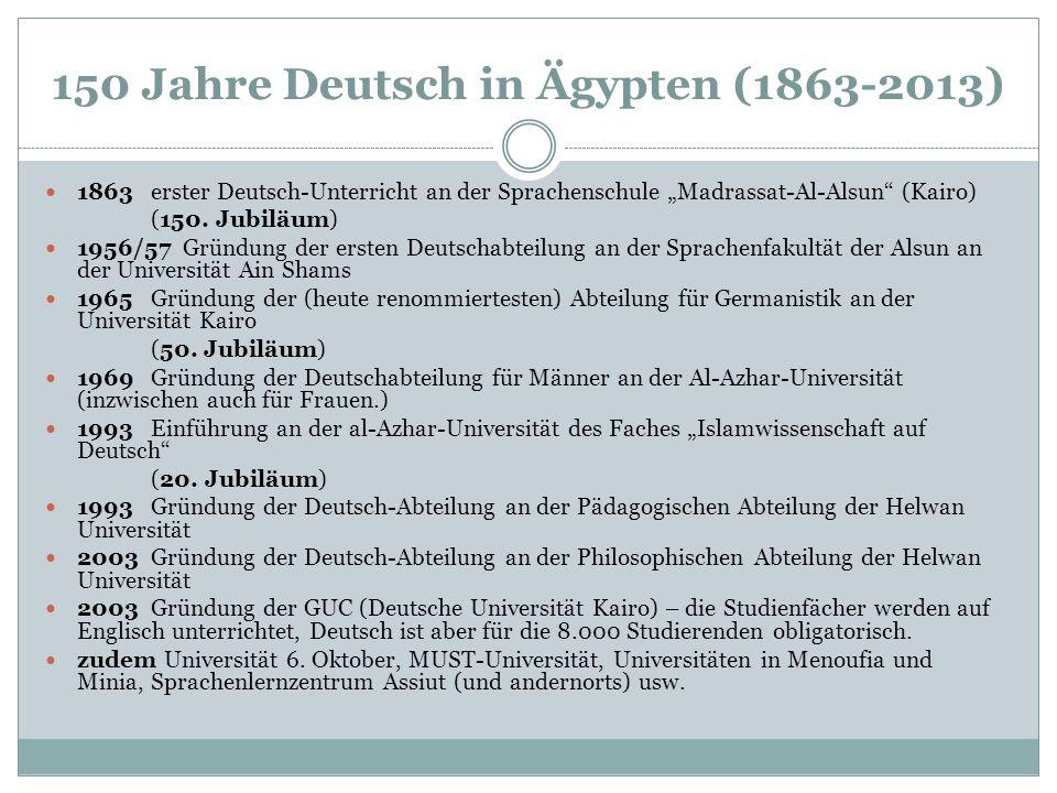"""150 Jahre Deutsch in Ägypten (1863-2013) 1863erster Deutsch-Unterricht an der Sprachenschule """"Madrassat-Al-Alsun"""" (Kairo) (150. Jubiläum) 1956/57 Grün"""