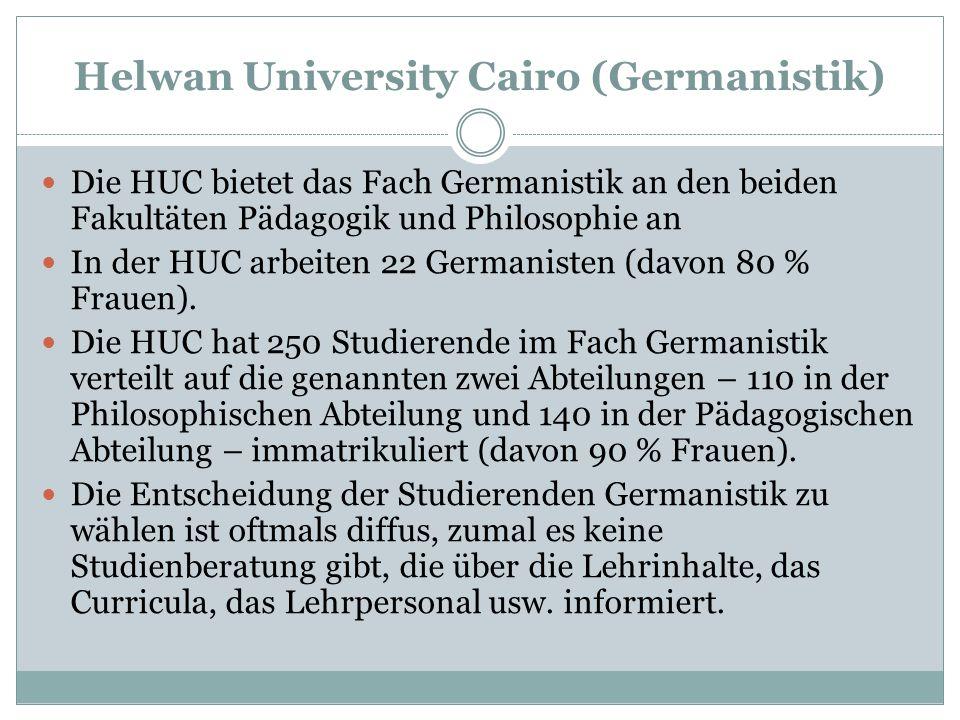 Helwan University Cairo (Germanistik) Die HUC bietet das Fach Germanistik an den beiden Fakultäten Pädagogik und Philosophie an In der HUC arbeiten 22
