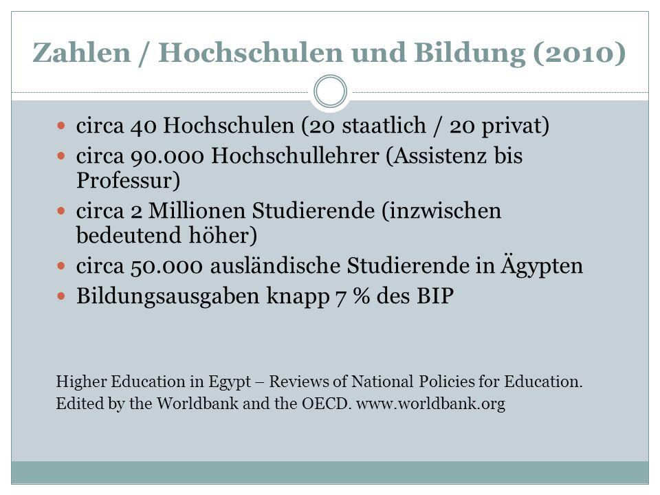 Zahlen / Hochschulen und Bildung (2010) circa 40 Hochschulen (20 staatlich / 20 privat) circa 90.000 Hochschullehrer (Assistenz bis Professur) circa 2