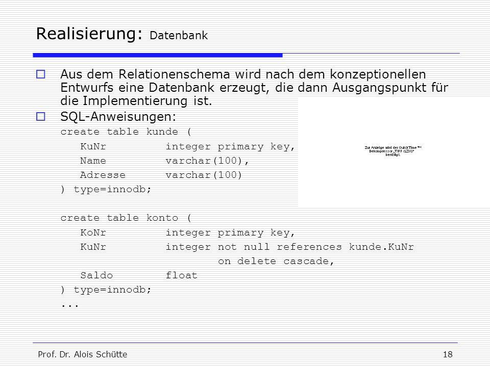 Prof. Dr. Alois Schütte18 Realisierung: Datenbank  Aus dem Relationenschema wird nach dem konzeptionellen Entwurfs eine Datenbank erzeugt, die dann A