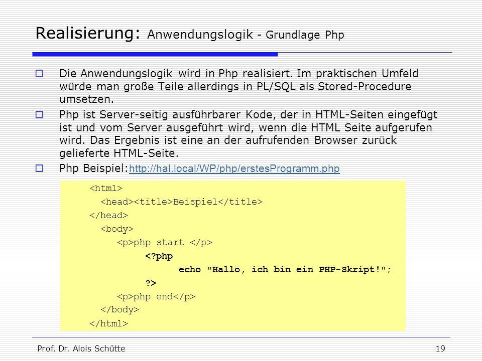 Prof. Dr. Alois Schütte19 Realisierung: Anwendungslogik - Grundlage Php  Die Anwendungslogik wird in Php realisiert. Im praktischen Umfeld würde man