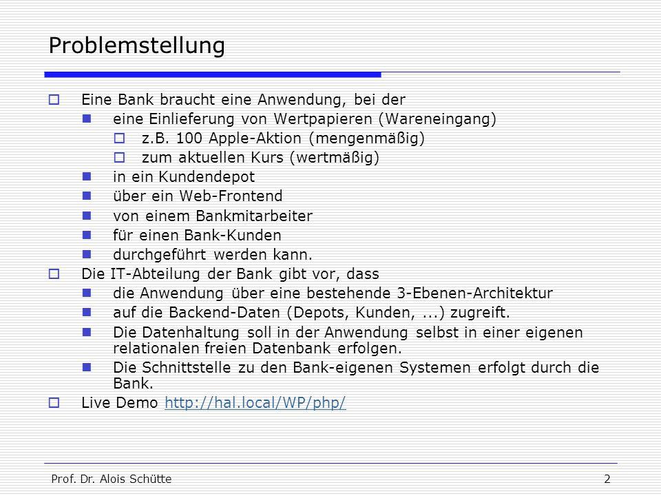 Prof. Dr. Alois Schütte2 Problemstellung  Eine Bank braucht eine Anwendung, bei der eine Einlieferung von Wertpapieren (Wareneingang)  z.B. 100 Appl