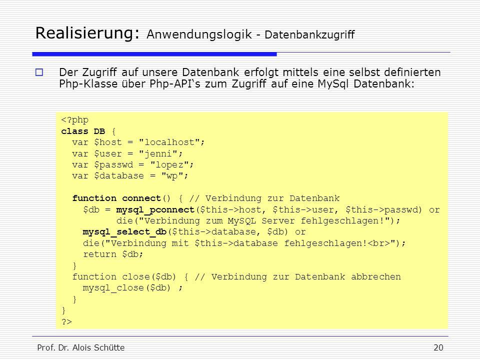 Prof. Dr. Alois Schütte20 Realisierung: Anwendungslogik - Datenbankzugriff  Der Zugriff auf unsere Datenbank erfolgt mittels eine selbst definierten