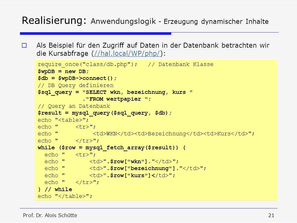 Prof. Dr. Alois Schütte21 Realisierung: Anwendungslogik - Erzeugung dynamischer Inhalte  Als Beispiel für den Zugriff auf Daten in der Datenbank betr
