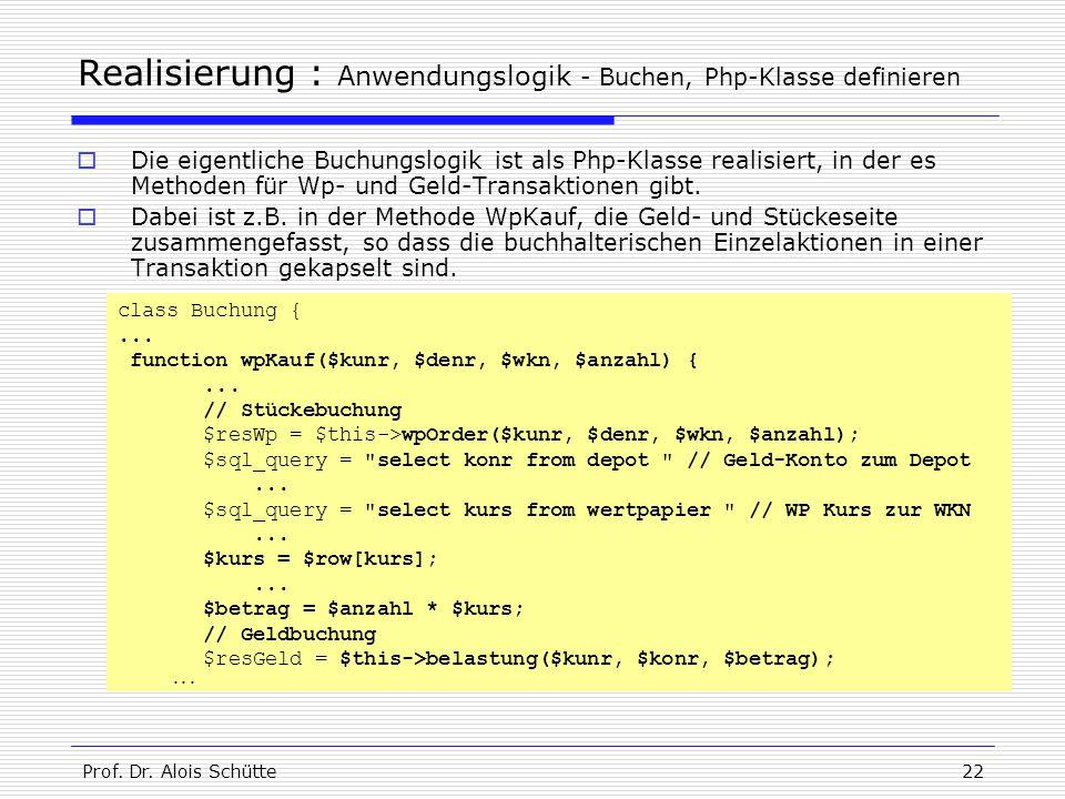 Prof. Dr. Alois Schütte22 Realisierung : Anwendungslogik - Buchen, Php-Klasse definieren  Die eigentliche Buchungslogik ist als Php-Klasse realisiert