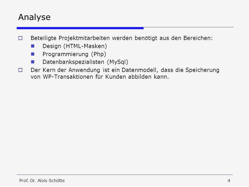 Prof. Dr. Alois Schütte4 Analyse  Beteiligte Projektmitarbeiten werden benötigt aus den Bereichen: Design (HTML-Masken) Programmierung (Php) Datenban