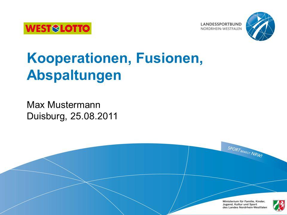 22 | Kooperation, Fusion, Abspaltung, 25.08.2011 Umsetzungsplanung: Kooperation Im Normalfall sind Kooperationen so konzipiert und gewollt, dass der Zusammenschluss nicht als selbstständiges Rechtssubjekt gesehen werden soll, sondern als Teil der Stammvereine.