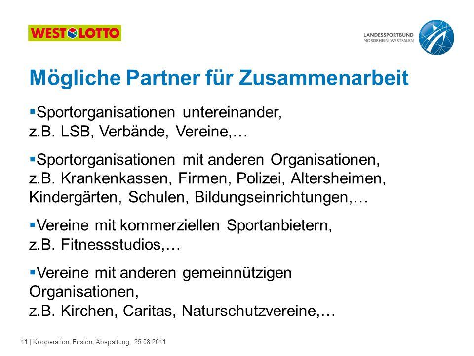 11 | Kooperation, Fusion, Abspaltung, 25.08.2011 Mögliche Partner für Zusammenarbeit  Sportorganisationen untereinander, z.B. LSB, Verbände, Vereine,