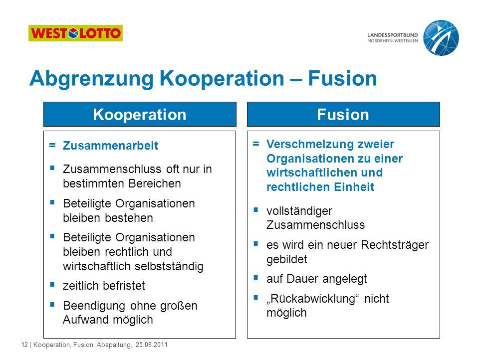 12 | Kooperation, Fusion, Abspaltung, 25.08.2011 Abgrenzung Kooperation – Fusion Kooperation =Zusammenarbeit  Zusammenschluss oft nur in bestimmten B