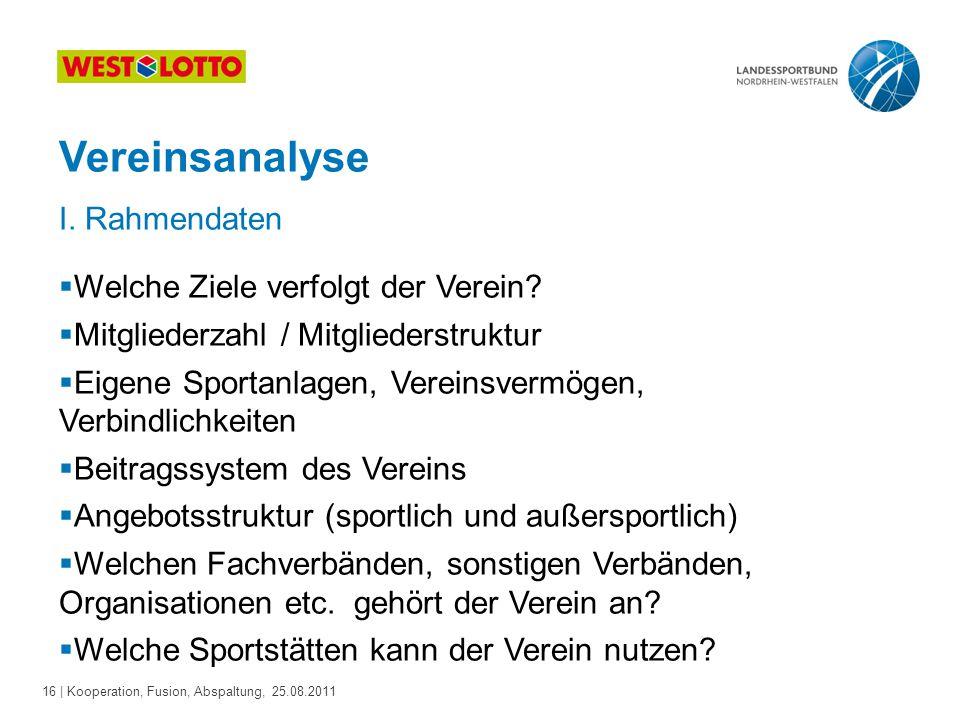 16 | Kooperation, Fusion, Abspaltung, 25.08.2011 Vereinsanalyse I. Rahmendaten  Welche Ziele verfolgt der Verein?  Mitgliederzahl / Mitgliederstrukt
