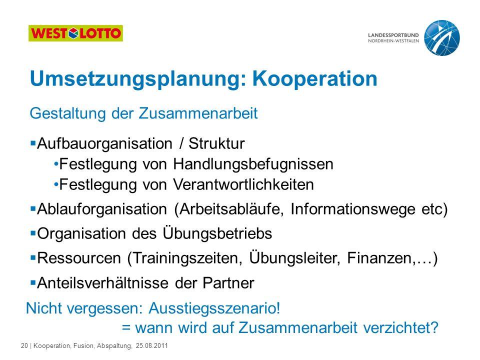 20 | Kooperation, Fusion, Abspaltung, 25.08.2011 Umsetzungsplanung: Kooperation Gestaltung der Zusammenarbeit  Aufbauorganisation / Struktur Festlegu